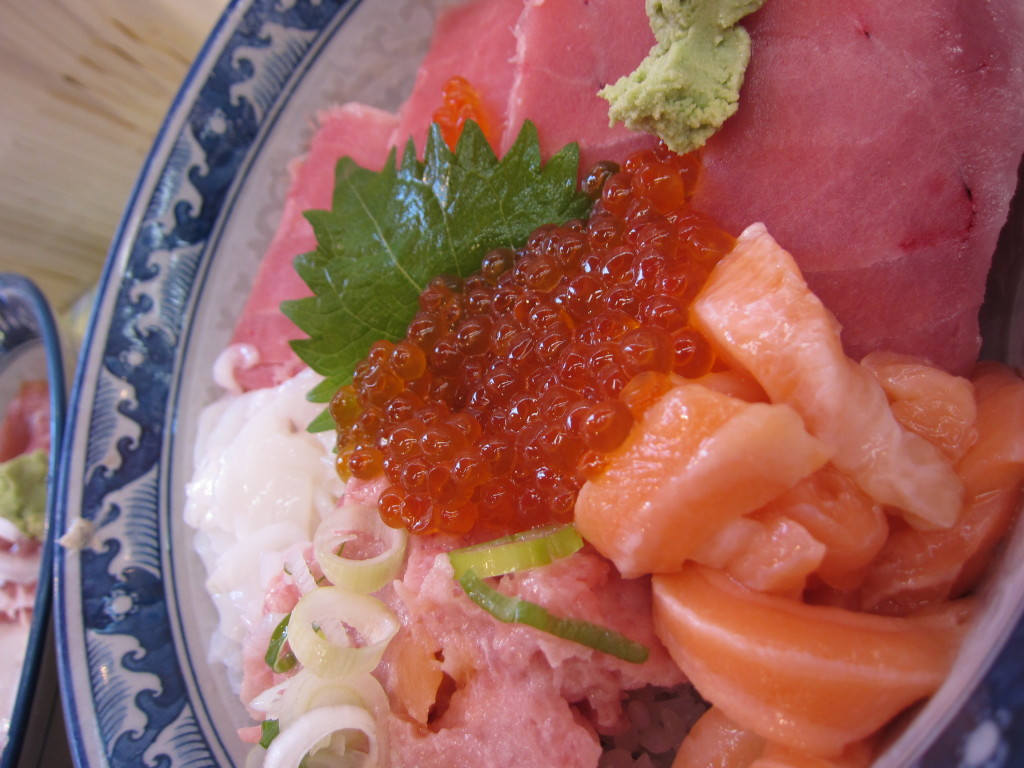 This is a fresh bowl of Sashimi from a market in Ueno--for 5 bucks.