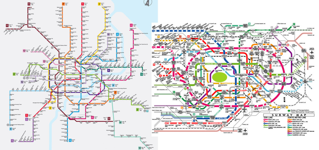 Shanghai map on the left and Tokyo on the right (and what a mess it is!)
